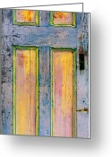 Door Sculpture Greeting Cards - Glowing Through Door Greeting Card by Asha Carolyn Young