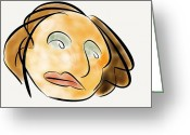 Green Forehead Greeting Cards - Glum Woman Greeting Card by Andrew Morgan