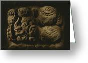 Pre Columbian Antiquities And Artifacts Greeting Cards - Glyph Representing The Mayan Rulers Greeting Card by Kenneth Garrett