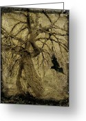 Crow Digital Art Greeting Cards - Gnarled and Twisted Tree with Crow Greeting Card by Gothicolors With Crows