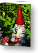 Gnome Greeting Cards - Gnome Fishing Greeting Card by Harry Spitz
