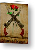 Frederico Borges Greeting Cards - GnR tribute Greeting Card by Frederico Borges