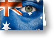Cheering Greeting Cards - Go Australia Greeting Card by Semmick Photo