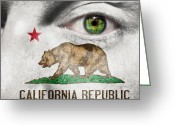Red Sign Greeting Cards - Go California  Greeting Card by Semmick Photo
