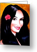 Crayon Painting Greeting Cards - Go Girl Greeting Card by Monica  Vega