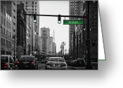Hustle Bustle Greeting Cards - Go Go Gratiot Greeting Card by Gordon Dean II
