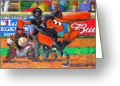 Portraits Mixed Media Greeting Cards - GO Orioles Greeting Card by Dan Haraga