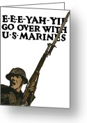 Marine Corps Greeting Cards - Go Over With US Marines Greeting Card by War Is Hell Store