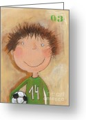 Baby Room Greeting Cards - Goal Keeper Tim Greeting Card by Sonja Mengkowski