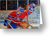 Pond Hockey Painting Greeting Cards - Goalie Makes The Save Stanley Cup Playoffs Greeting Card by Carole Spandau