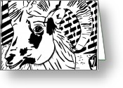 Learn To A Maze Greeting Cards - Goat Maze Greeting Card by Yonatan Frimer Maze Artist
