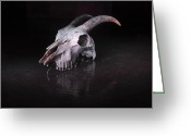 Luz Greeting Cards - Goat skull Greeting Card by Fernando Alvarez