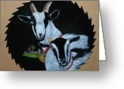 Saw Blade Greeting Cards - Goats Greeting Card by Darlene Prowell