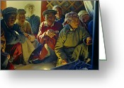 Mature Adult Greeting Cards - Gobi Desert Dwellers Listen Intently Greeting Card by Dean Conger