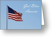 Red White And Blue Greeting Cards - God Bless America Greeting Card by Angie McKenzie