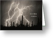 Lightning Weather Stock Images Greeting Cards - God Bless America BW Lightning Storm in the USA Desert Greeting Card by James Bo Insogna