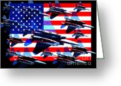4th July Digital Art Greeting Cards - God Bless America Land Of The Free 2 Greeting Card by Wingsdomain Art and Photography