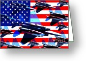 4th July Digital Art Greeting Cards - God Bless America Land Of The Free Greeting Card by Wingsdomain Art and Photography