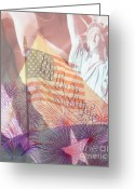 Red White And Blue Greeting Cards - God Bless the USA Greeting Card by Cheryl Young