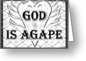 Pen And Ink Drawing Drawings Greeting Cards - God Is Love - Agape Greeting Card by Glenn McCarthy Art and Photography