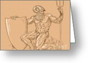 Muscles Greeting Cards - God Neptune or poseidon Greeting Card by Aloysius Patrimonio