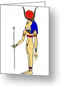 Sacred Digital Art Greeting Cards - God of Ancient Egypt - Hathor Greeting Card by Michal Boubin