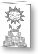Tribal Drawings Greeting Cards - God of Sun Greeting Card by Michal Boubin