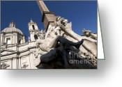 Baroque Greeting Cards - God of the River Ganges. Fontana dei Quattro Fiumi. Piazza Navona. Rome Greeting Card by Bernard Jaubert