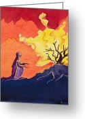 Old Testament Greeting Cards - God speaks to Moses from the burning bush Greeting Card by Elizabeth Wang