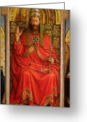 Tiara Greeting Cards - God the Father Greeting Card by Hubert and Jan Van Eyck