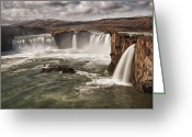 Norse Greeting Cards - Godafoss Greeting Card by Wade Aiken