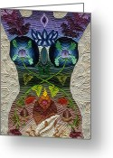 God Reliefs Greeting Cards - Godbody Greeting Card by Arla Patch