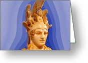 Greek Sculpture Digital Art Greeting Cards - Goddess Athena Greeting Card by Augusta Stylianou