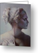 Greek Sculpture Painting Greeting Cards - Goddess Detail Greeting Card by Geraldine Arata