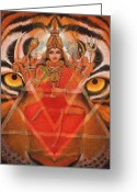 Tiger Tapestries Textiles Greeting Cards - Goddess Durga Greeting Card by Sue Halstenberg