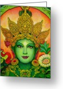Buddha Art Greeting Cards - Goddess Green Taras Face Greeting Card by Sue Halstenberg