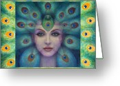 Star Greeting Cards - Goddess Isis Visions Greeting Card by Sue Halstenberg