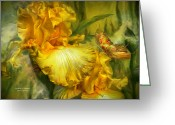 Iris Art Mixed Media Greeting Cards - Goddess Of Summer Greeting Card by Carol Cavalaris