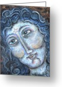 Icon  Pastels Greeting Cards - Goddess of the Northern Star Greeting Card by Suzan  Sommers