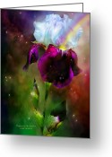 Iris Art Mixed Media Greeting Cards - Goddess Of The Rainbow Greeting Card by Carol Cavalaris