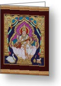 Relief Work Greeting Cards - Goddess Saraswati Greeting Card by Vimala Jajoo