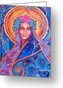 Iconography Painting Greeting Cards - Goddess Shakti Creates Greeting Card by Justine Aldersey-Williams