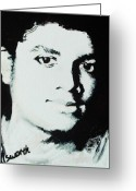 Michael Jackson Greeting Cards - Gods Glow Greeting Card by Cassandra Allsworth
