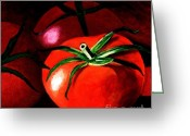 Carolinestreet Greeting Cards - Gods Kitchen Series No 3 Tomato Greeting Card by Caroline Street