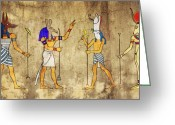 Fresco Greeting Cards - Gods of Ancient Egypt Greeting Card by Michal Boubin