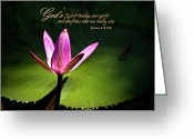 Lily Pad Greeting Cards - Gods Spirit Greeting Card by Carolyn Marshall