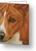 Pet Pastels Greeting Cards - Goggie Basenji Greeting Card by Karen Coombes