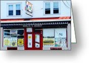 Grinders Greeting Cards - Goglias Market Bristol RI Greeting Card by Lizi Beard-Ward
