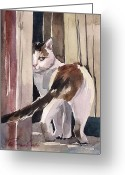 Calico Cat Greeting Cards - Going Away Greeting Card by Yuliya Podlinnova