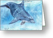 Bottle-nosed Dolphin Greeting Cards - Going deep Greeting Card by Callie Smith